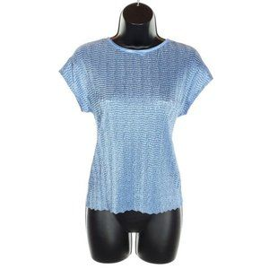 TANJAY Blouse Textured Blue Top Stretch Petite